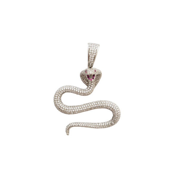 Iced-Out Cobra Pendant (Silver)