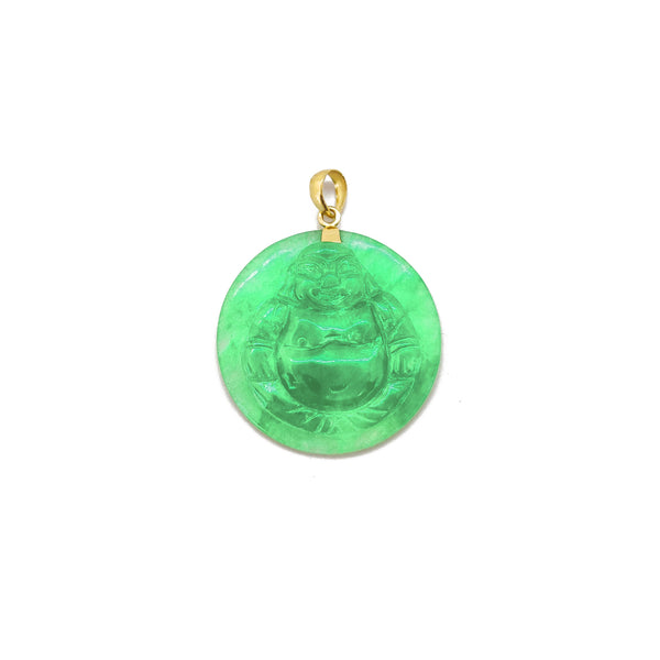Jade Laughing Buddha Medallion Pendant (14K) 14 Karat Yellow Gold, Popular Jewelry New York