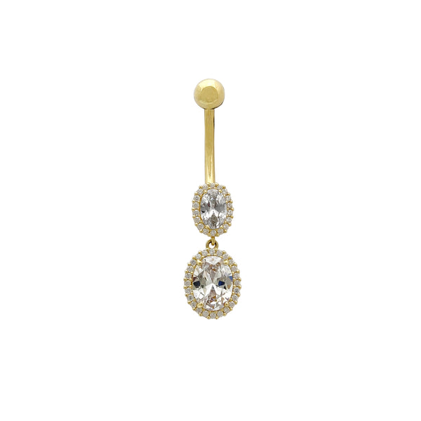 Oval Halo CZ Dangle naflahringur (14K) Popular Jewelry Nýja Jórvík
