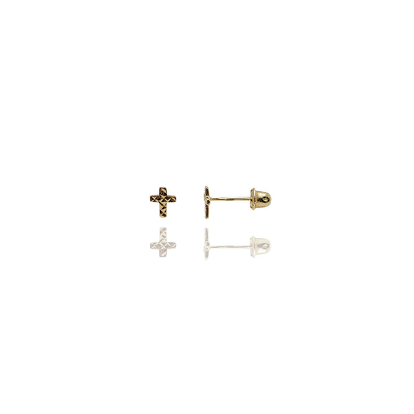 Diamond-Cuts Cross Stud Earrings (14k)