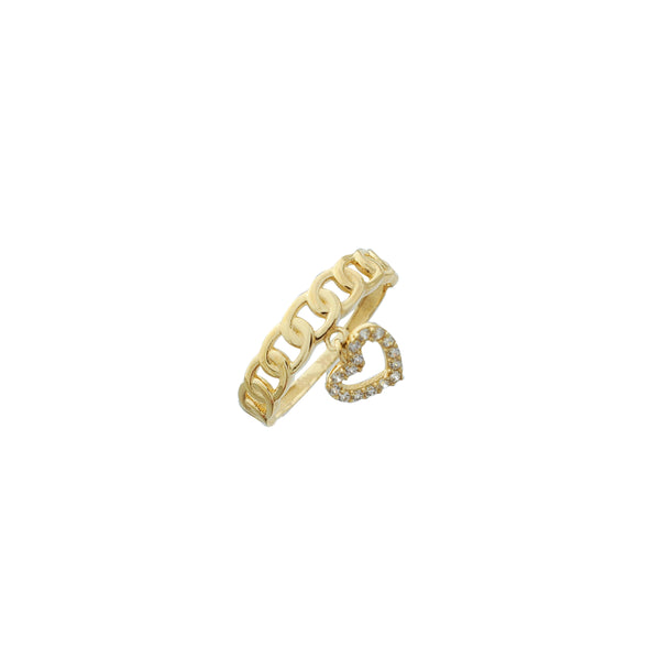 Thin Cuban Link with Dangling Heart Ring (14K)