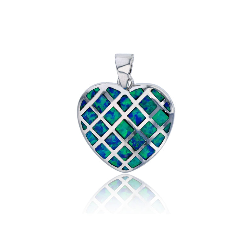 Blue Opal Basketweave Heart Pendant (Silver)