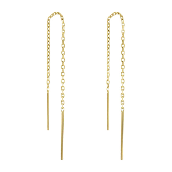 Threads Cable Chain Ear-U Threader Dangle Drop Earrings (14K) Popular Jewelry Nûyork