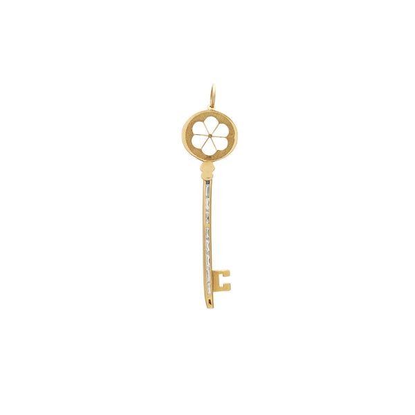Channel Setting Blossom Flower Silhouette Key Pendant (14K) Popular Jewelry New York