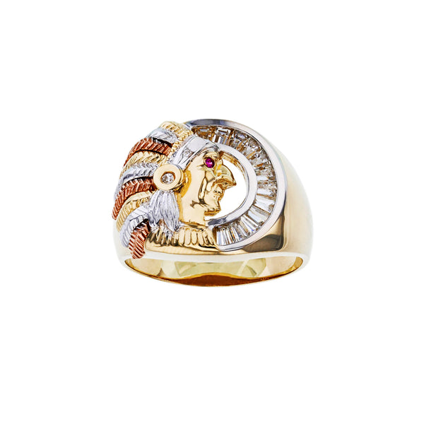 Channel Setting Chief Indian Head Men's Ring (14K) Popular Jewelry New York