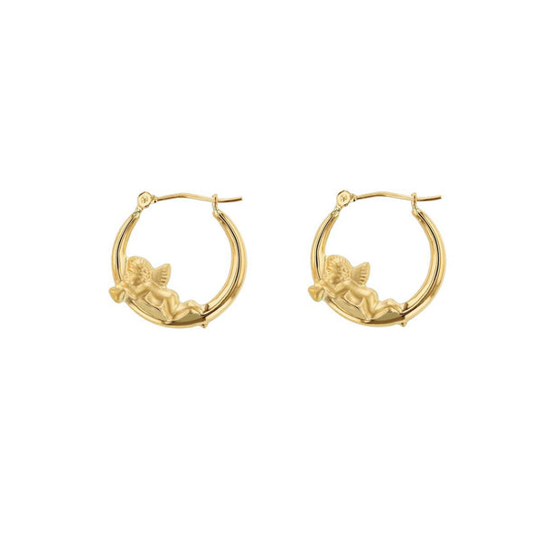 Cherub Baby Angel Hoop Earrings (14K) Popular Jewelry New York