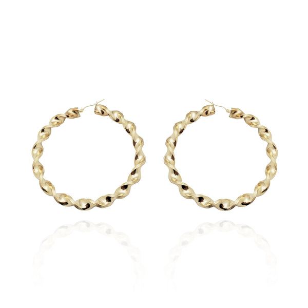 Churro Twist Hoop Earrings (10K)