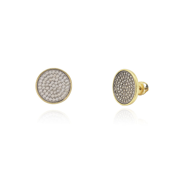 Circle CZ Stud Earrings (Silver) Popular Jewelry New York