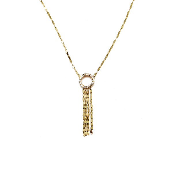 Gemstone Core [Diamond-Qaabeeya] Tassel Fancy silsilad (14K)