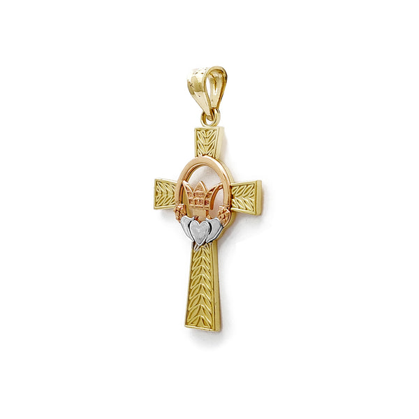 Claddagh Cross Cross Lendant (14K) Popular Jewelry نيو يارڪ