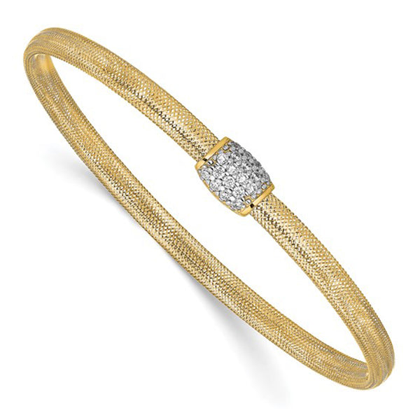 Cluster Barrier Mesh Soft Bangle Bracelet (14K) Popular Jewelry New York