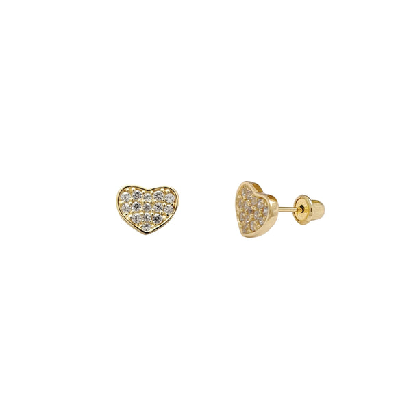 Cluster Heart Stud Earrings (14K) Popular Jewelry New York
