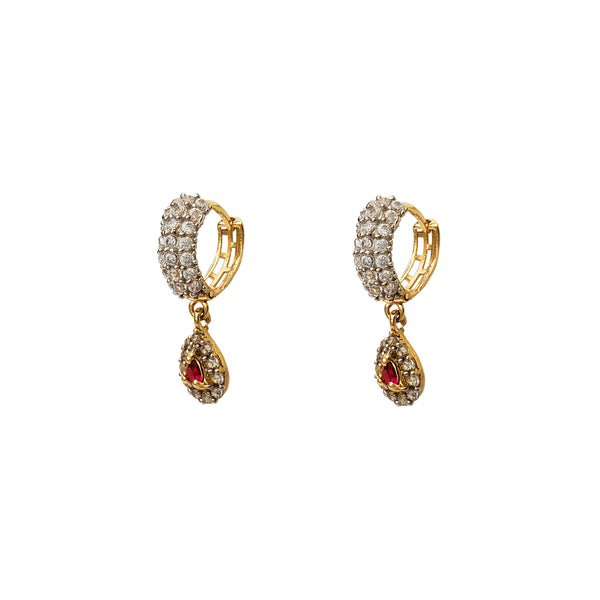 Cluster Pave Red Stone Teardrop Hanging Huggie Earrings (14K) Popular Jewelry New York