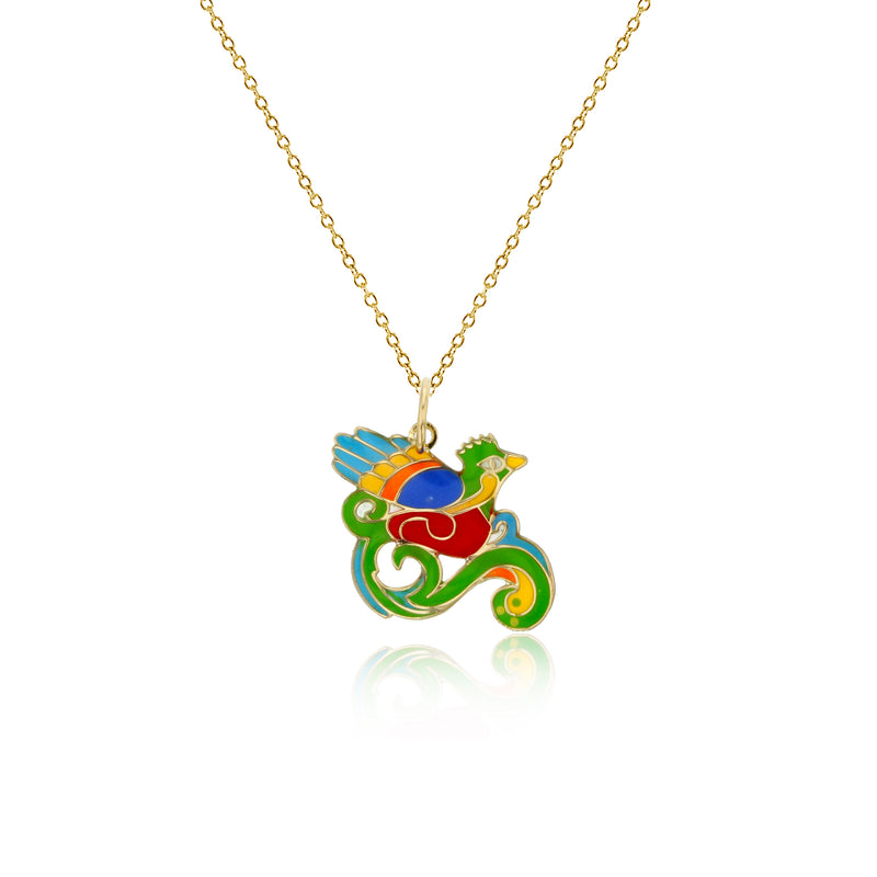 Colorful-Enameled Bird Fancy Necklace (14K) Popular Jewelry New York