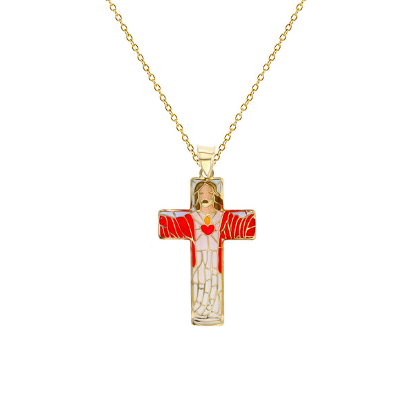 Colorful-Enameled Mosaic Jesus Cross Fancy Necklace (14K) Popular Jewelry New York