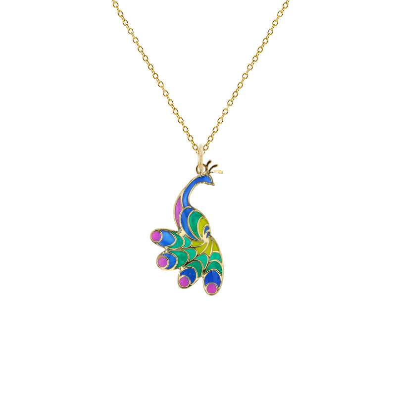 Colorful-Enameled Peacock Fancy Necklace (14K) Popular Jewelry New York