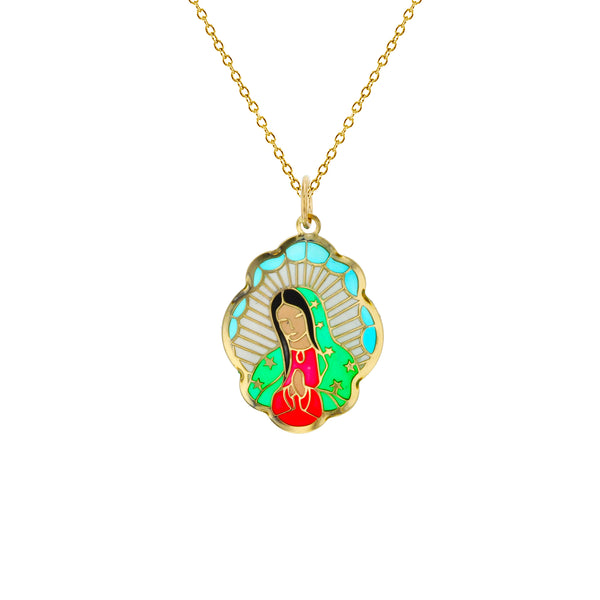 Colorful-Enameled Praying Virgin Mary Fancy Necklace (14K) Popular Jewelry New York