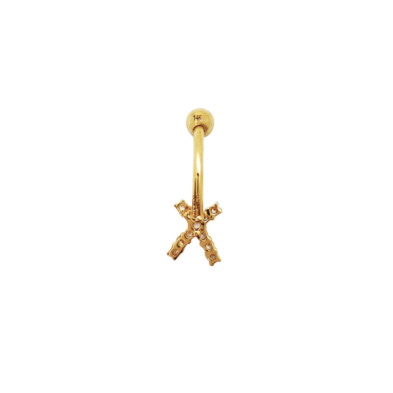 Criss Cross CZ Stud Navel Ring (14K) Popular Jewelry New York