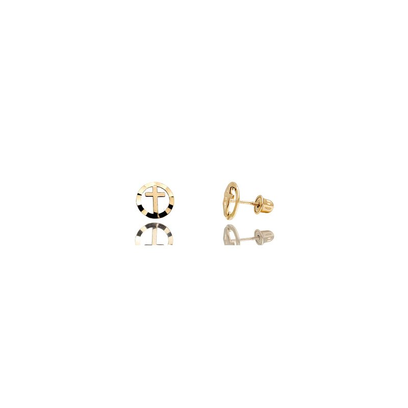 Mini Cross / Circle Stud Ականջօղեր (14K) 14 Karat Yellow Gold, Popular Jewelry Նյու Յորք