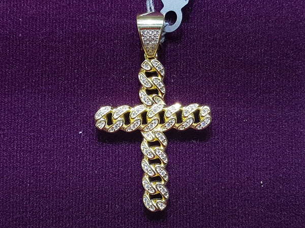 Iced-Out Cubanlink Cross Pendant Silver