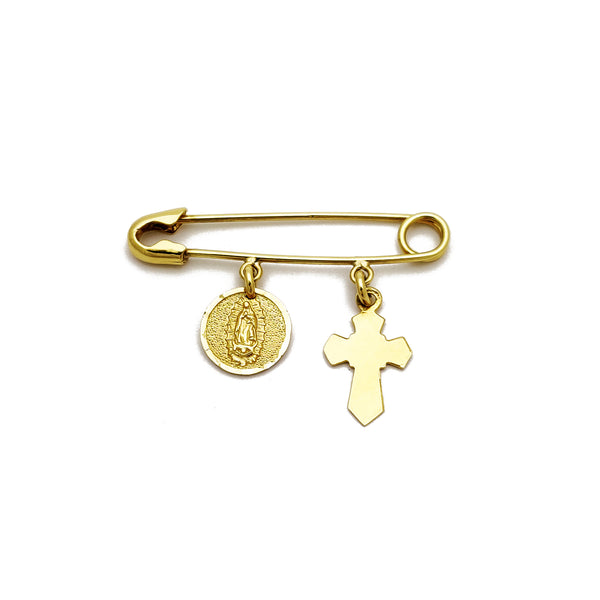 Cross / Virgin Mary Safety Pin (14K) Popular Jewelry New York