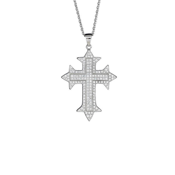 Iced-Out Cross Necklace (Silver)
