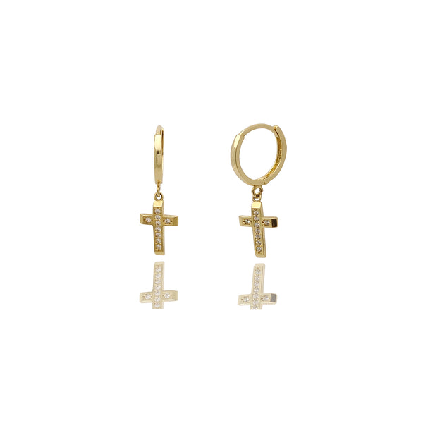 Cross CZ Huggie Earrings (14K)