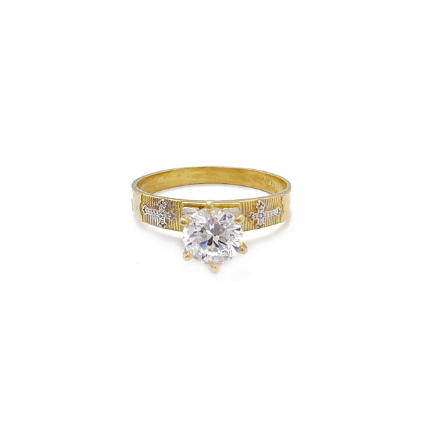Cubic Zirconia Cross Engagement Ring (10K)