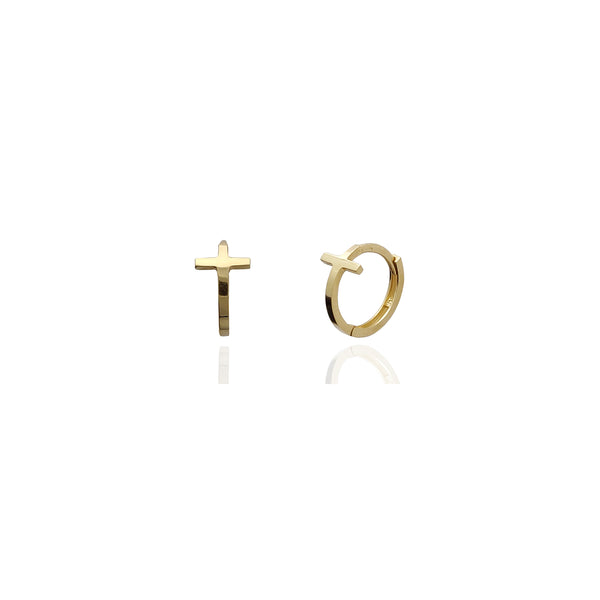 Cross Huggie Earrings (14K) Yellow Gold