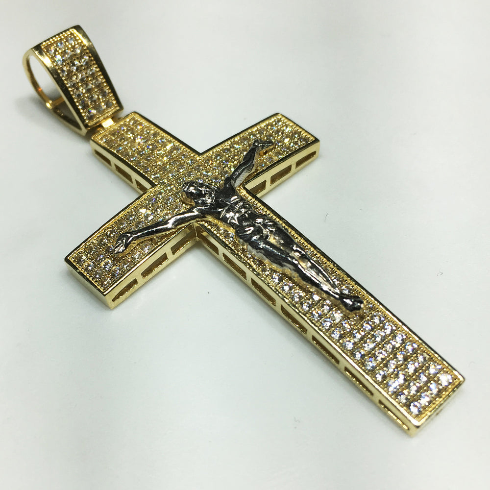 jewellery pendant cross anma baptism gold white square product