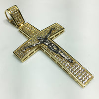 Cross Hanger 14K Micropave Cubic Zirconia CZ Giel Goud - Popular Jewelry