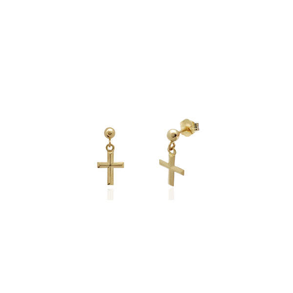 Cross Stud Hanging Earrings (14K) Yellow Gold
