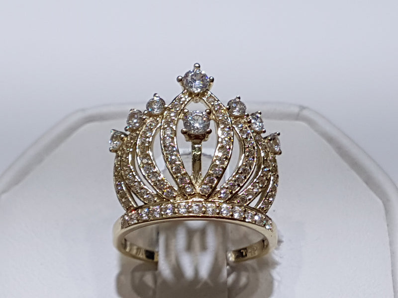 Marquis Tiara Cocktail Ring CZ 14K - Popular Jewelry