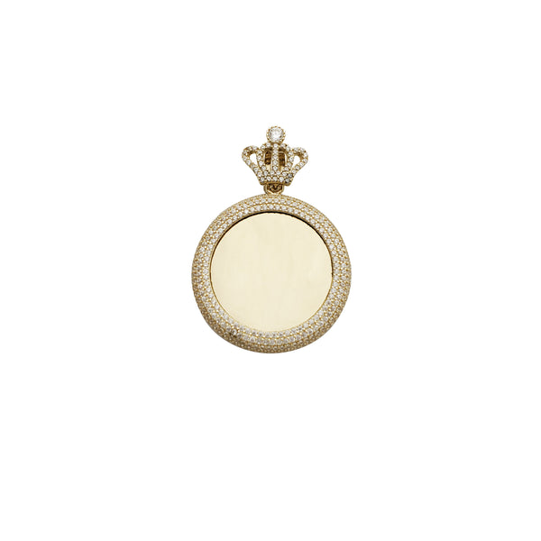Crown Bail Puffy Round Picture CZ Pendant (14K)