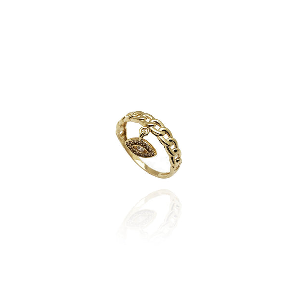 Cuban Evil Eye CZ Ring (14K)