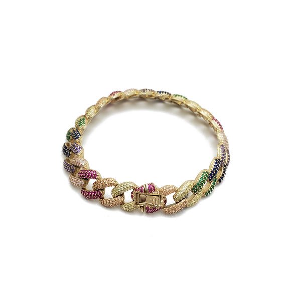 Cuban Multi-Color CZ Bracelet (Silver)