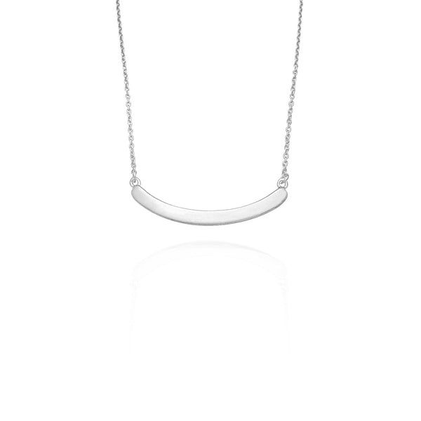 Curved Plain Bar Necklace (Silver) New York Popular Jewelry