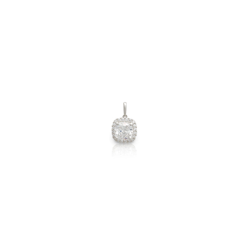 Cushion Halo Solitario Colgante en ouro branco (14K) Popular Jewelry nova York