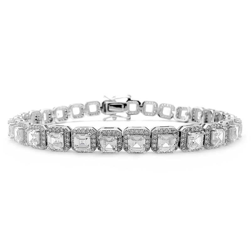 Cushion Shaped Tennis Bracelet (Silver) Popular Jewelry New York