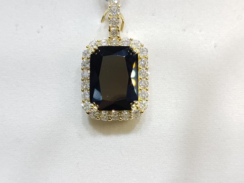 Emerald Cut Gemstone with Cubic Zirconia Pendant Silver - Lucky Diamond 恆福珠寶金行 New York City 169 Canal Street 10013 Jewelry store Playboi Charlie Chinatown @luckydiamondny 2124311180