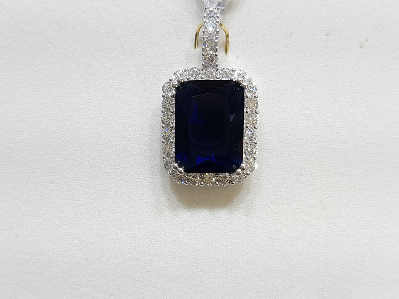 Custom Emerald-Cut Gemstone Gold Pendant w/ Diamonds