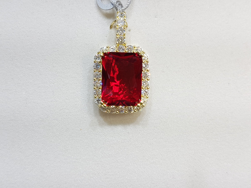 Emerald Cut Gemstone with Cubic Zirconia Pendant Silver