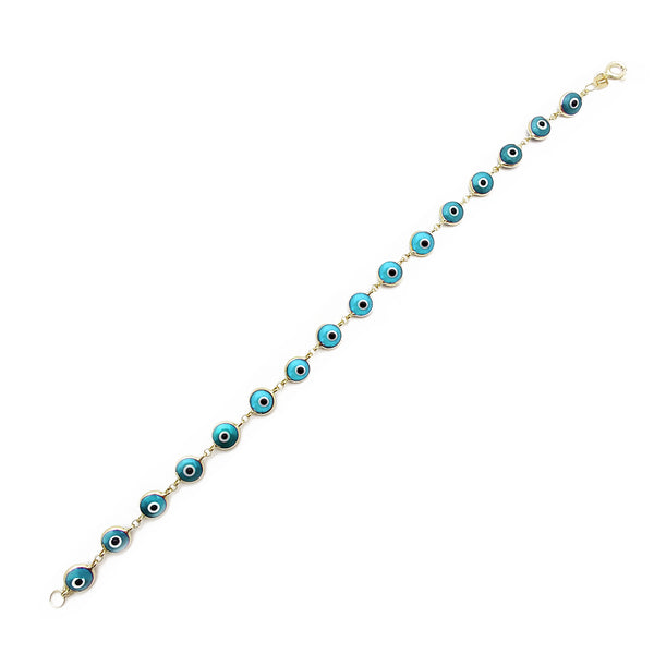 Bracelet Cyan Evil Eyes (14K) Popular Jewelry New York