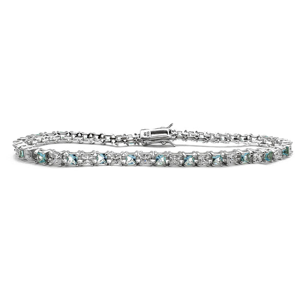 Cyan & White Princess Cut Tennis Bracelet (Silver) Popular Jewelry New York