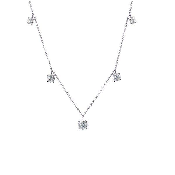 5-Drop Station Dangling Necklace (Silver)