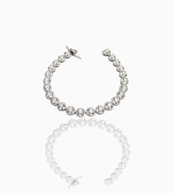 White Gold Round Diamond Brilliant Bracelet (18K)