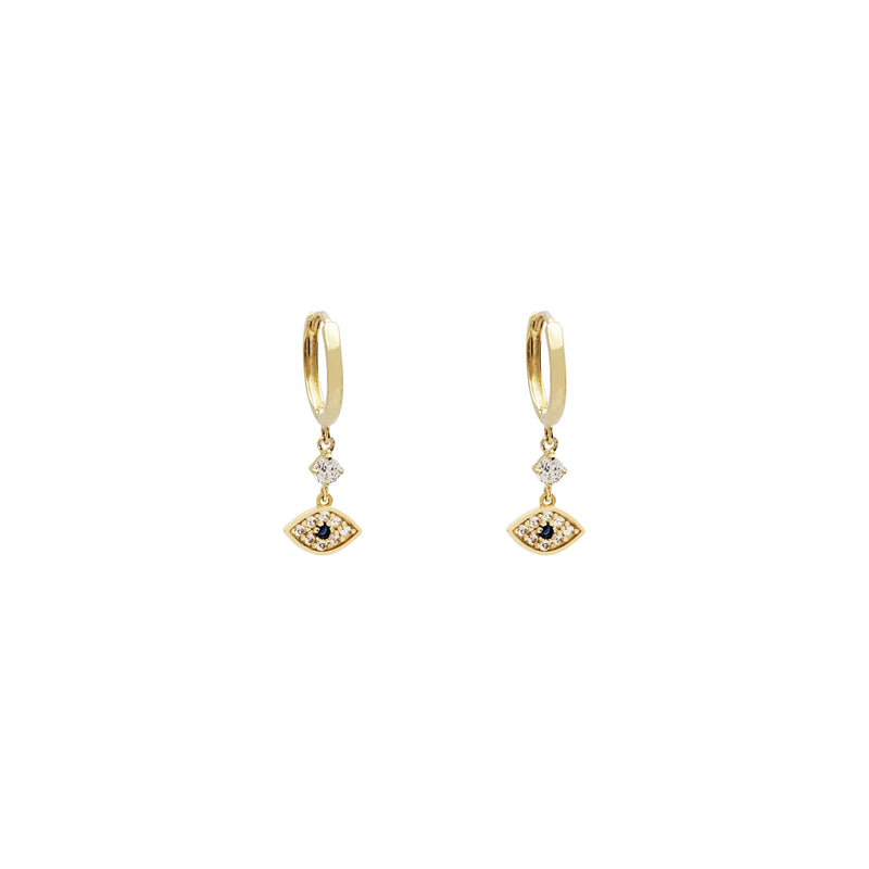 Dangling Evil Eye CZ Huggie Earrings (14K)