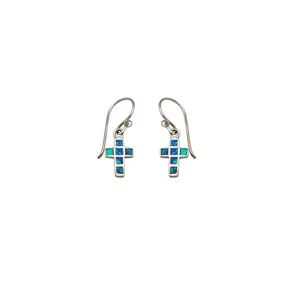 Dangling Opal Cross Earrings (Silver)