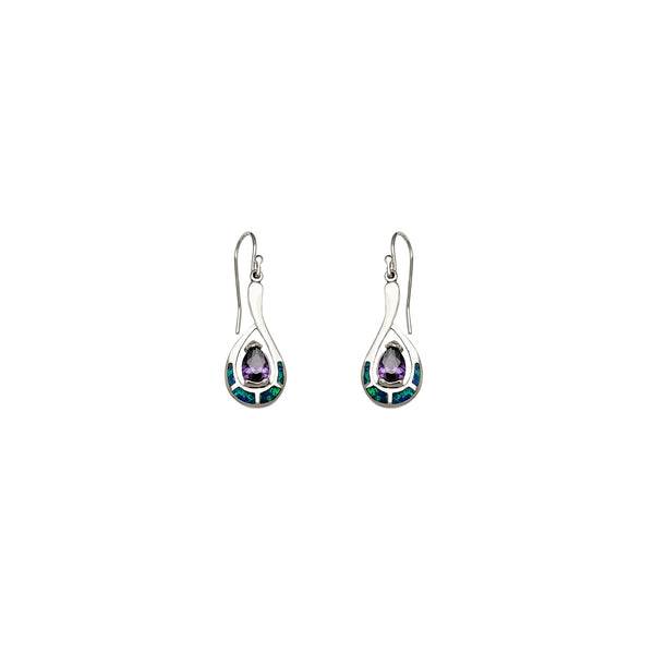 Dangling Opal Drop CZ Earrings (Silver)
