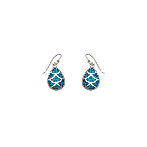 Dangling Opal Drop Earrings (Silver)